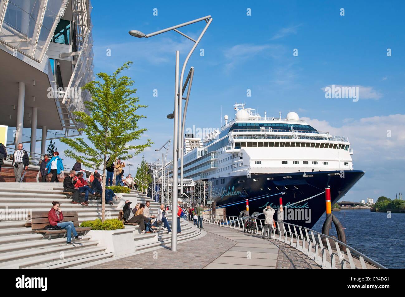Cruise liner 'Mein Schiff 2' moored at the cruise terminal in Hamburg's HafenCity, Hamburg, Germany, - Stock Image
