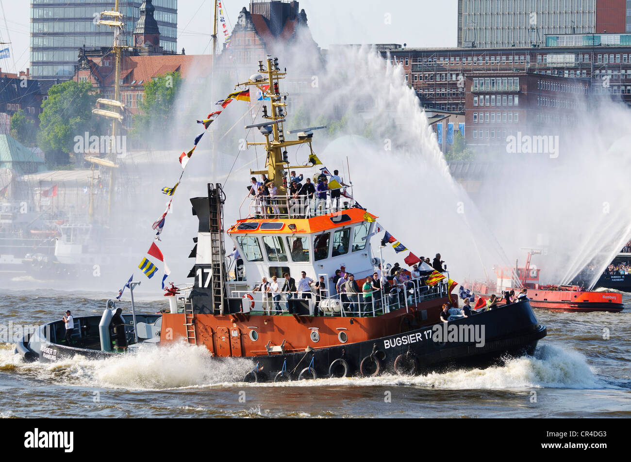 'Ballet' of the tugs on the Elbe river during the harbour anniversary celebrations in 2011, Hamburg, Germany, - Stock Image