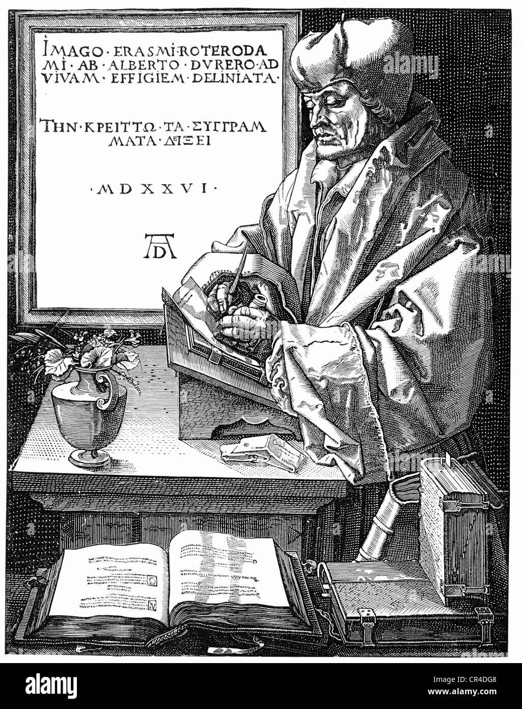 Erasmus von Rotterdam (1465 oder 1469 -1536) after an engraving by Albrecht Duerer - Stock Image
