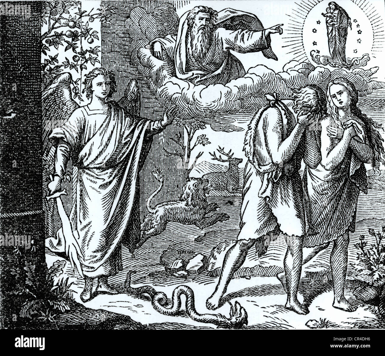 Expulsion from Paradise, steel engraving, 19. Century - Stock Image