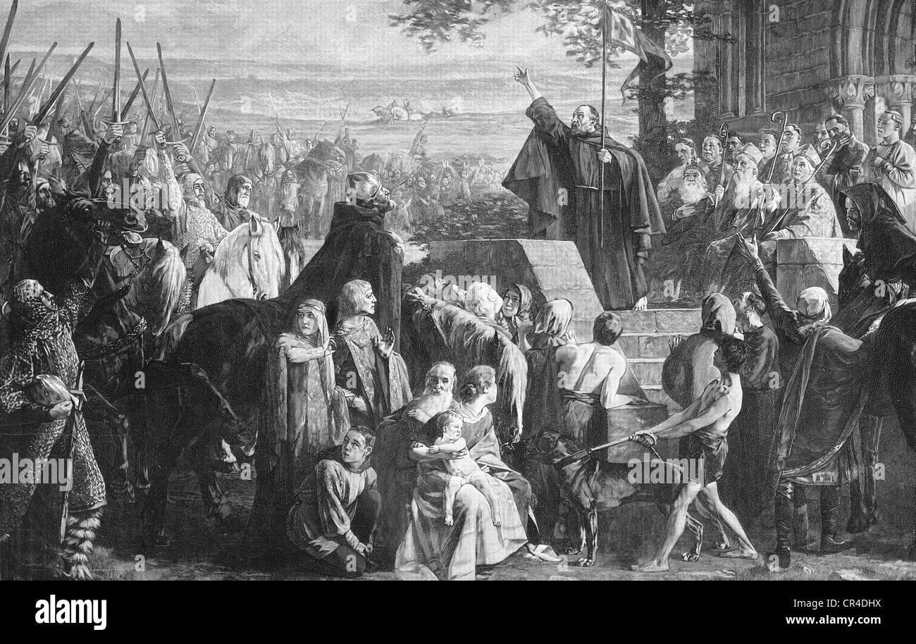 Preacher calls for a crusade, steel engraving, 19. century - Stock Image