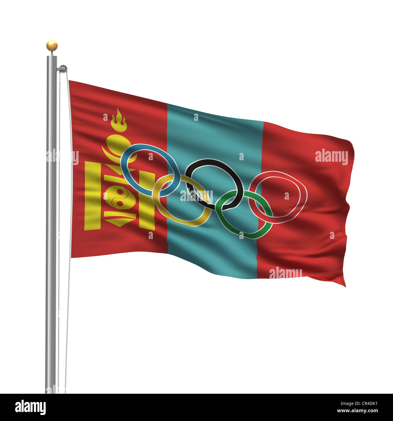 Flag of Mongolia with Olympic rings - Stock Image