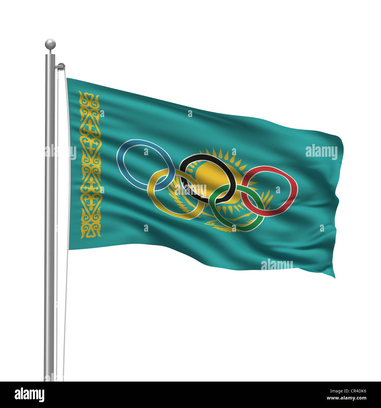 Flag of Kazakhstan with Olympic rings - Stock Image
