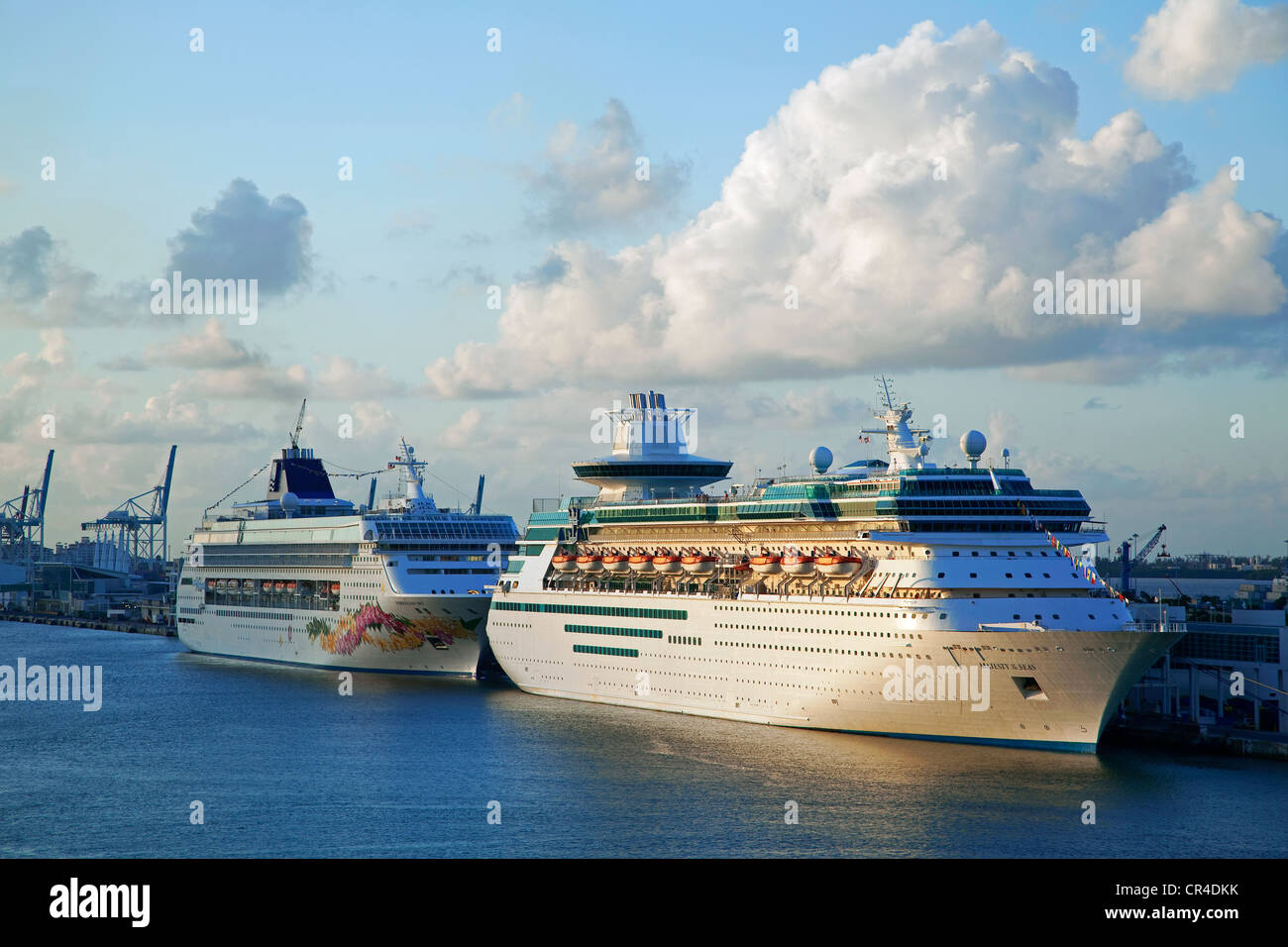 United States, Florida, Miami, cruise ships in harbour - Stock Image