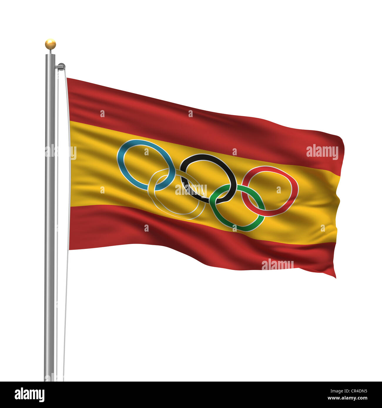 Flag of Spain with Olympic rings - Stock Image