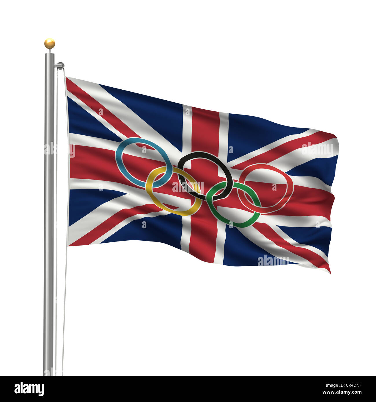 Flag of the United Kingdom with Olympic rings - Stock Image