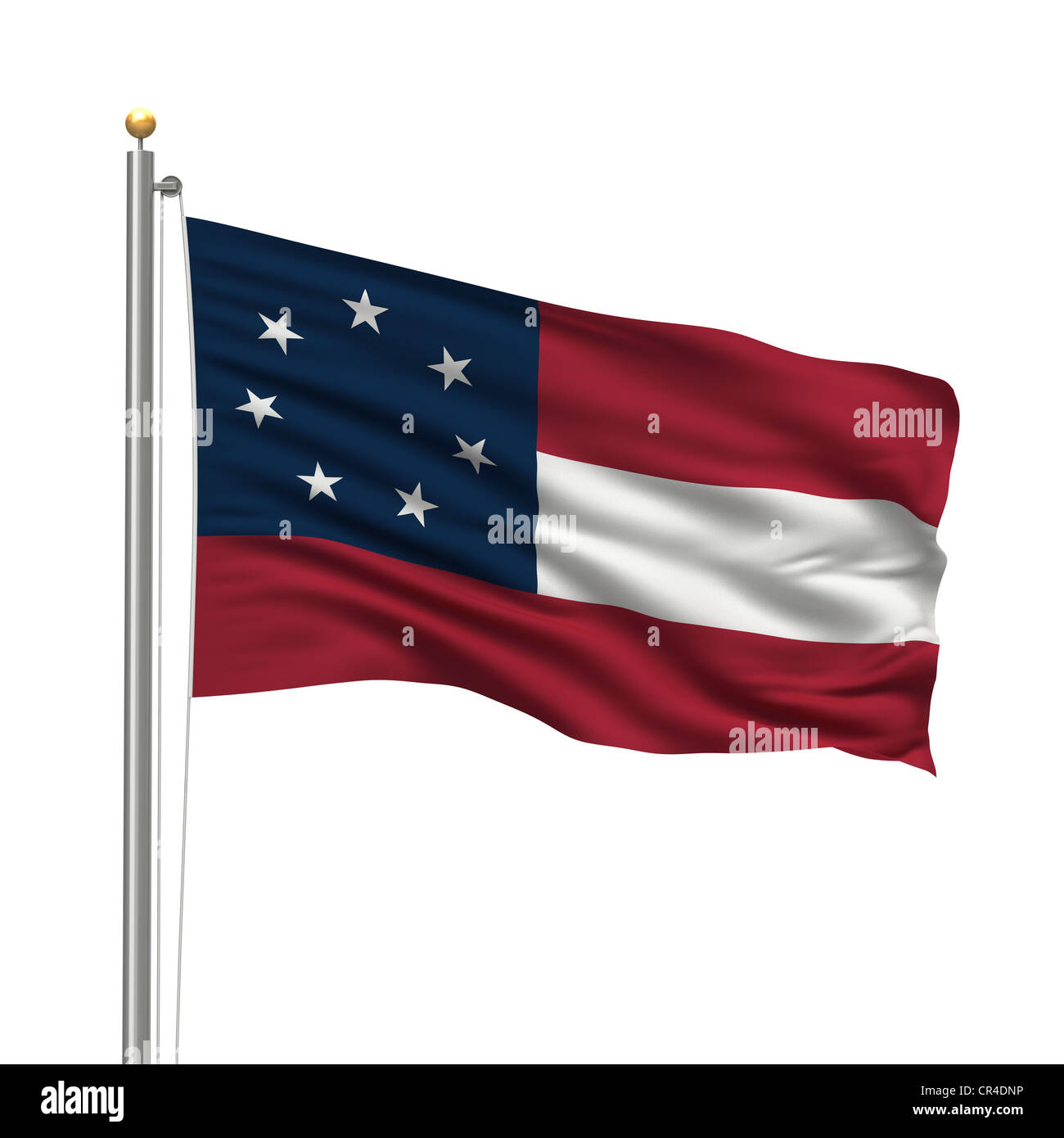 "First official flag of the Confederate States of America, called the ""Stars and Bars"", with seven stars waving in Stock Photo"
