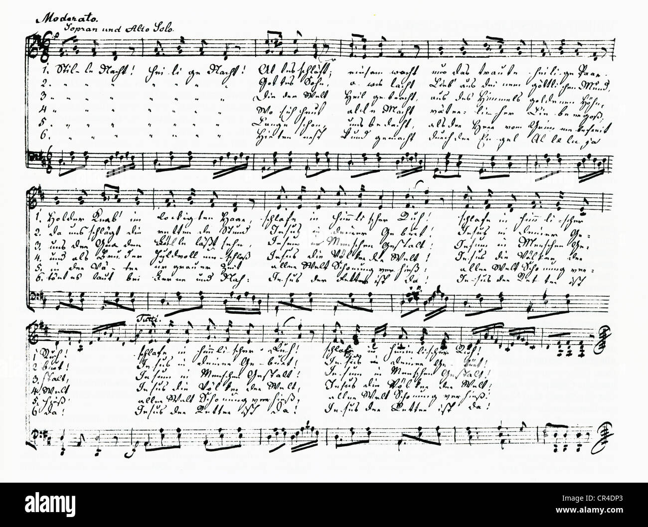 Stille Nacht heilige Nacht, Silent Night Holy Night christmas song written for descant alto and organ, manuscript - Stock Image