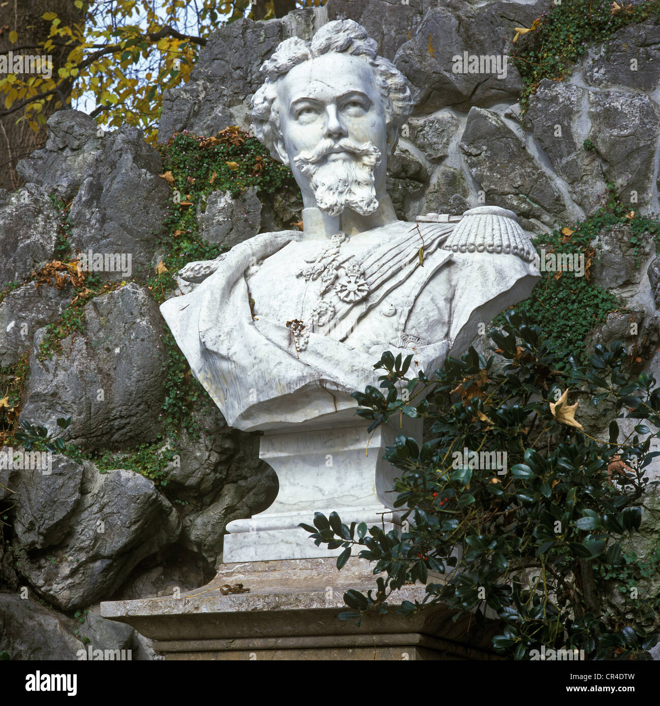 Memorial of King Ludwig II of Bavaria from 1894, first memorial for King Ludwig in Bavaria, Murnau, Upper Bavaria - Stock Image