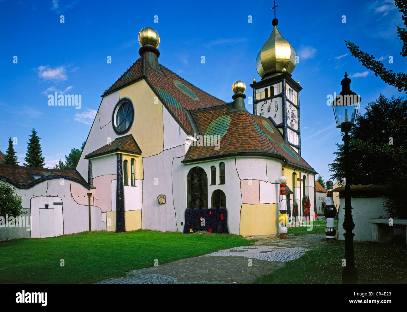 Parish church St. Barbara by Friedensreich Hundertwasser, 1988, Baernbach, Styria, Austria, Europe - Stock Image