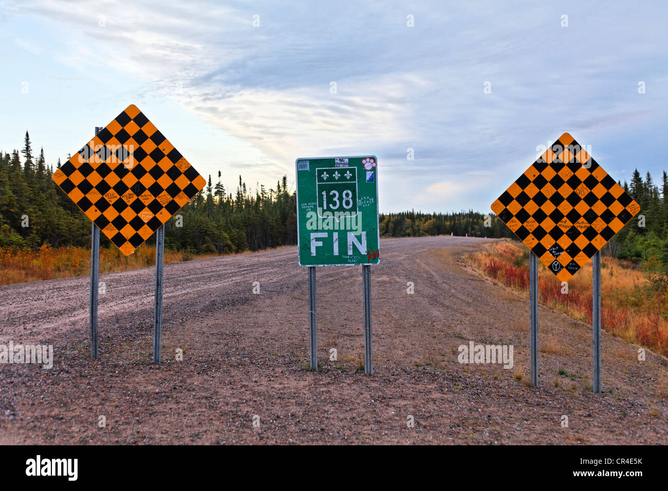 End of the road 138, Natashquan, Duplessis district, Quebec, Canada - Stock Image