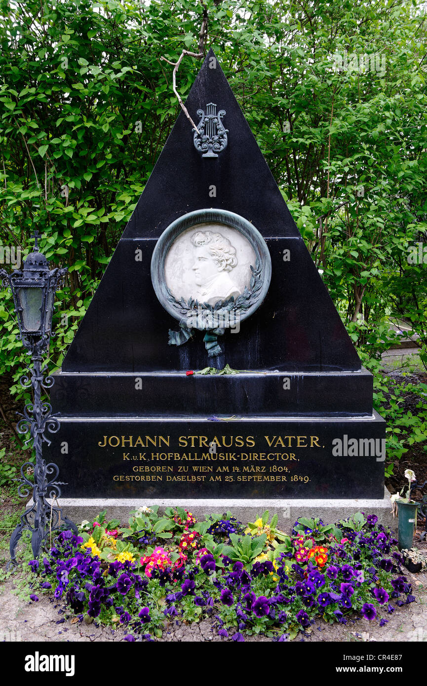 Grave of Johann Strauss, the Father, Wiener Zentralfriedhof, Vienna's central cemetery, honorary grave, Vienna, - Stock Image