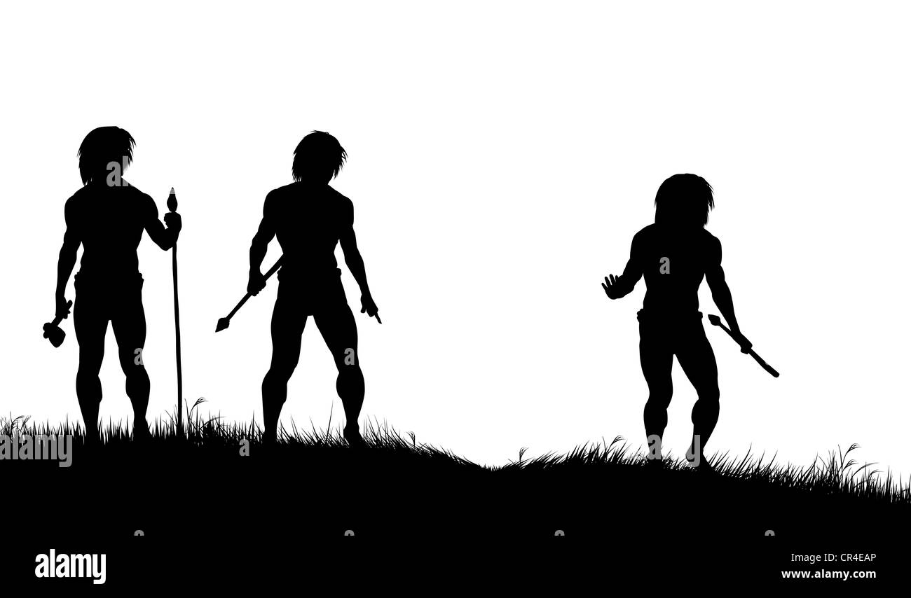 Illustrated silhouettes of three cavemen hunters with spears tracking animals - Stock Image