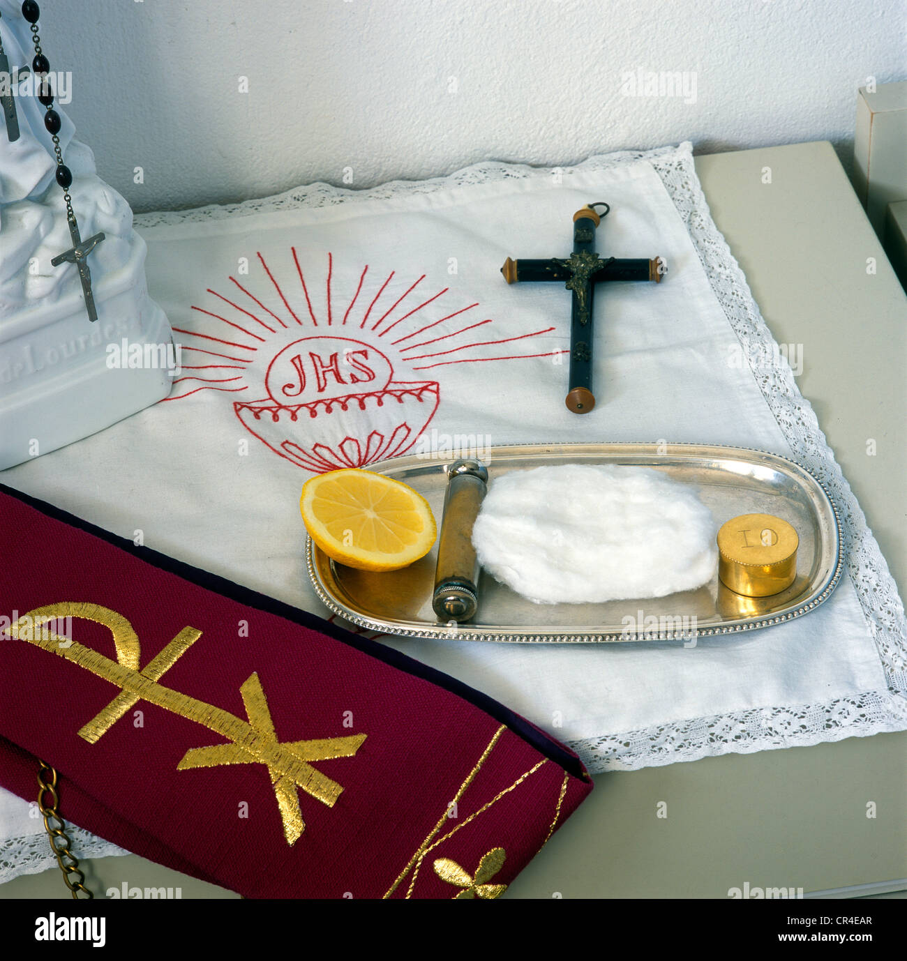 Utensils for the anointing of the sick, Pyxis, holy water sprinkler, cotton, cross, stole - Stock Image