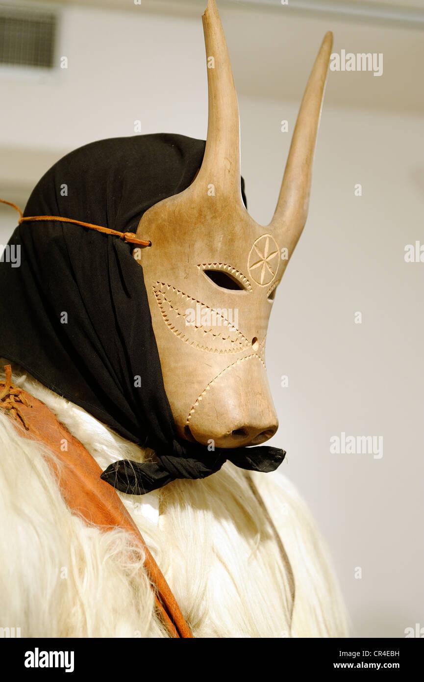 Carnival mask, Ethnographic Museum, Nuoro, Sardinia, Italy, Europe - Stock Image