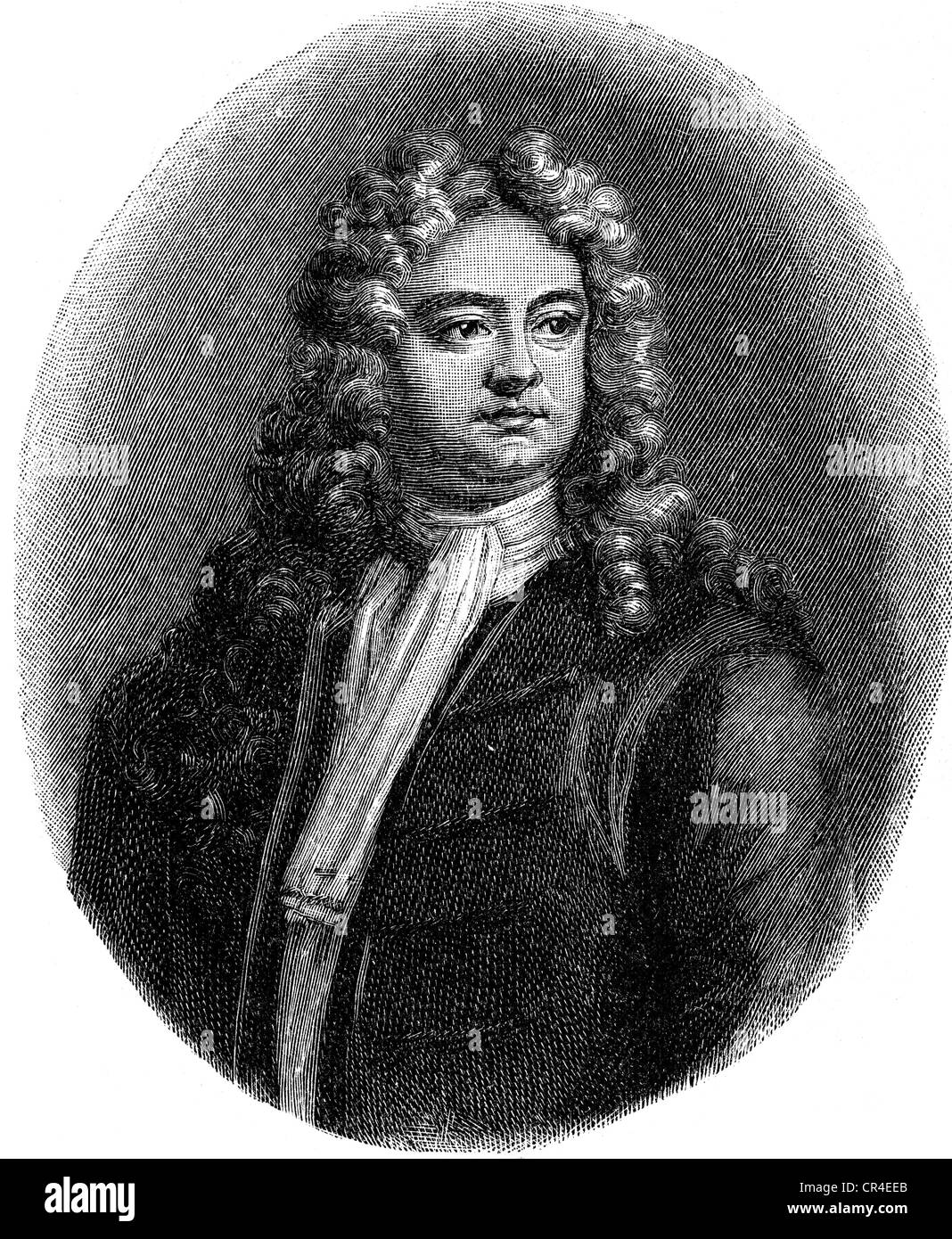 Steele, Richard, 12.3.1672 - 1.9.1729, Irish author / writer, half length, copper engraving by J. Smith after painting - Stock Image