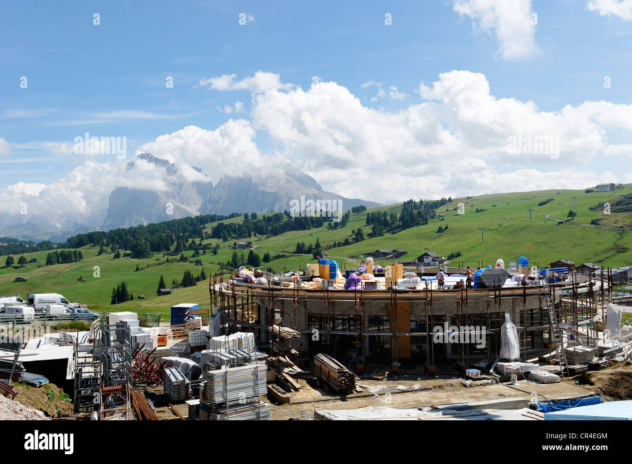 Seiser Alm alpine pastures, construction site at Compatsch, Alto Adige, Italy, Europe - Stock Image