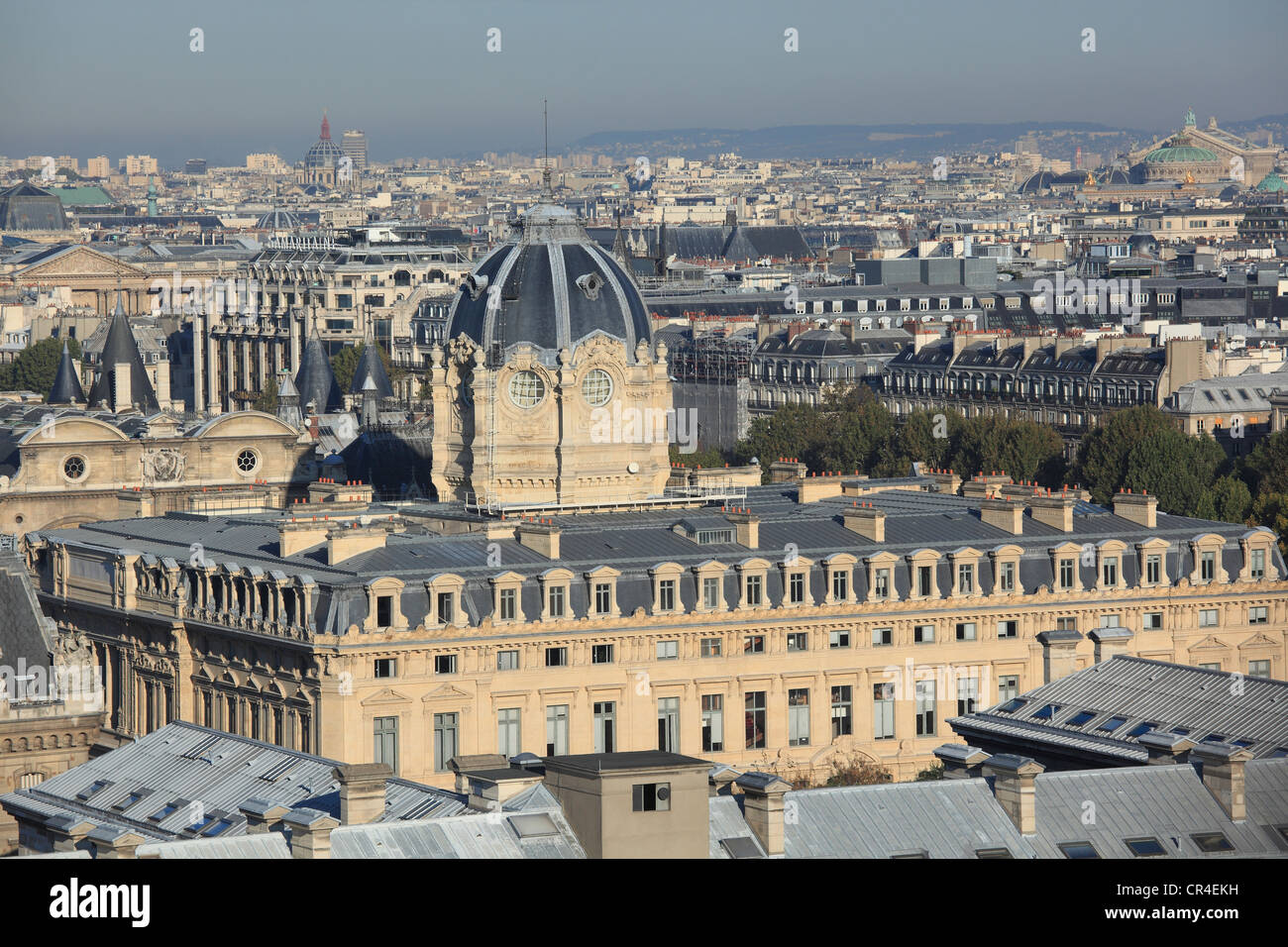 France, Paris, Ile de la Cite, view on the commercial court and the Opera Garnier on the right from Notre Dame de - Stock Image