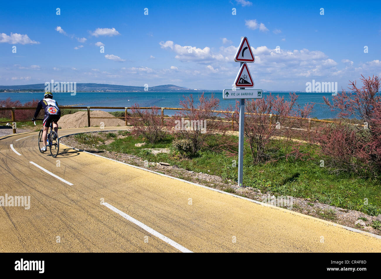 France, Herault, Vic la Gardiole, bicycle path above the canal linking the Rhone river to Sete - Stock Image