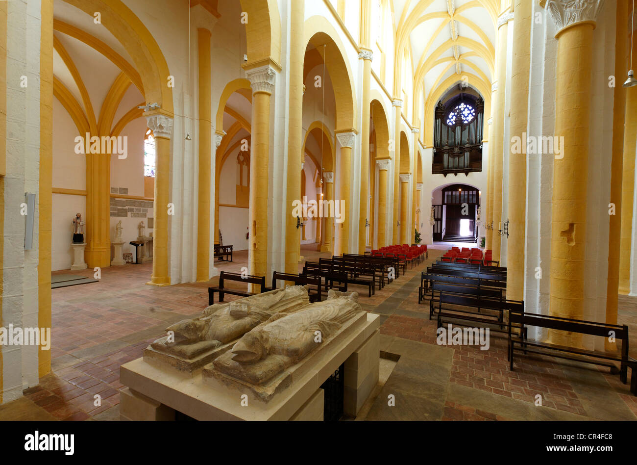 Bourbon's recumbent statue, church of Souvigny, Moulins, Allier, Auvergne, France, Europe Stock Photo