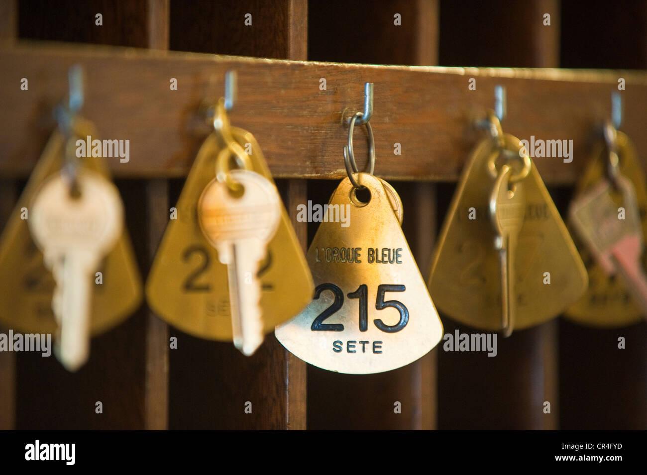 France, Herault, Sete, Orque Bleu Hotel, detail of the reception keys - Stock Image