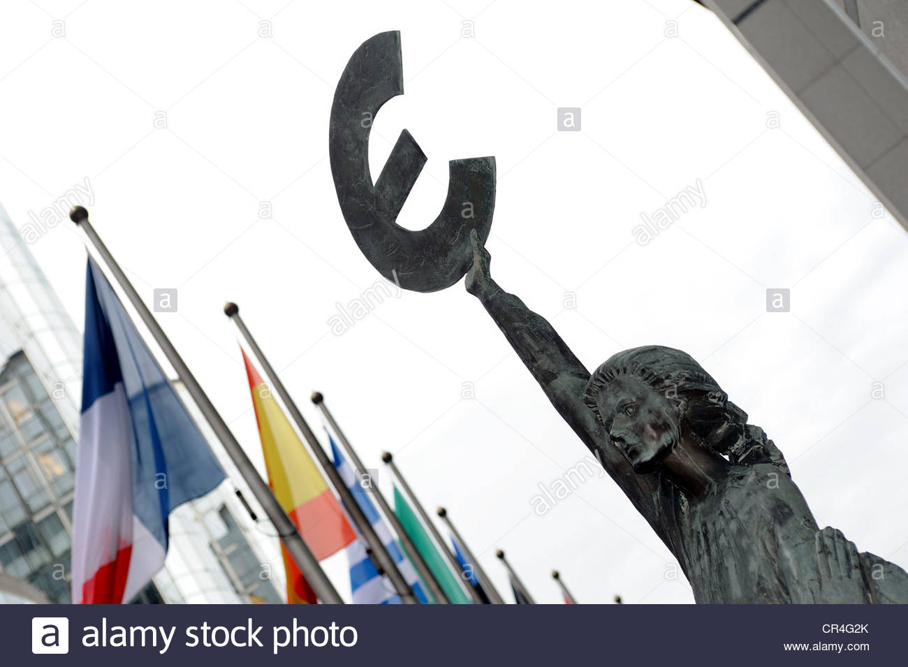 Brussels Belgium 'Europe' sculpture outside the European Parliament - Stock Image