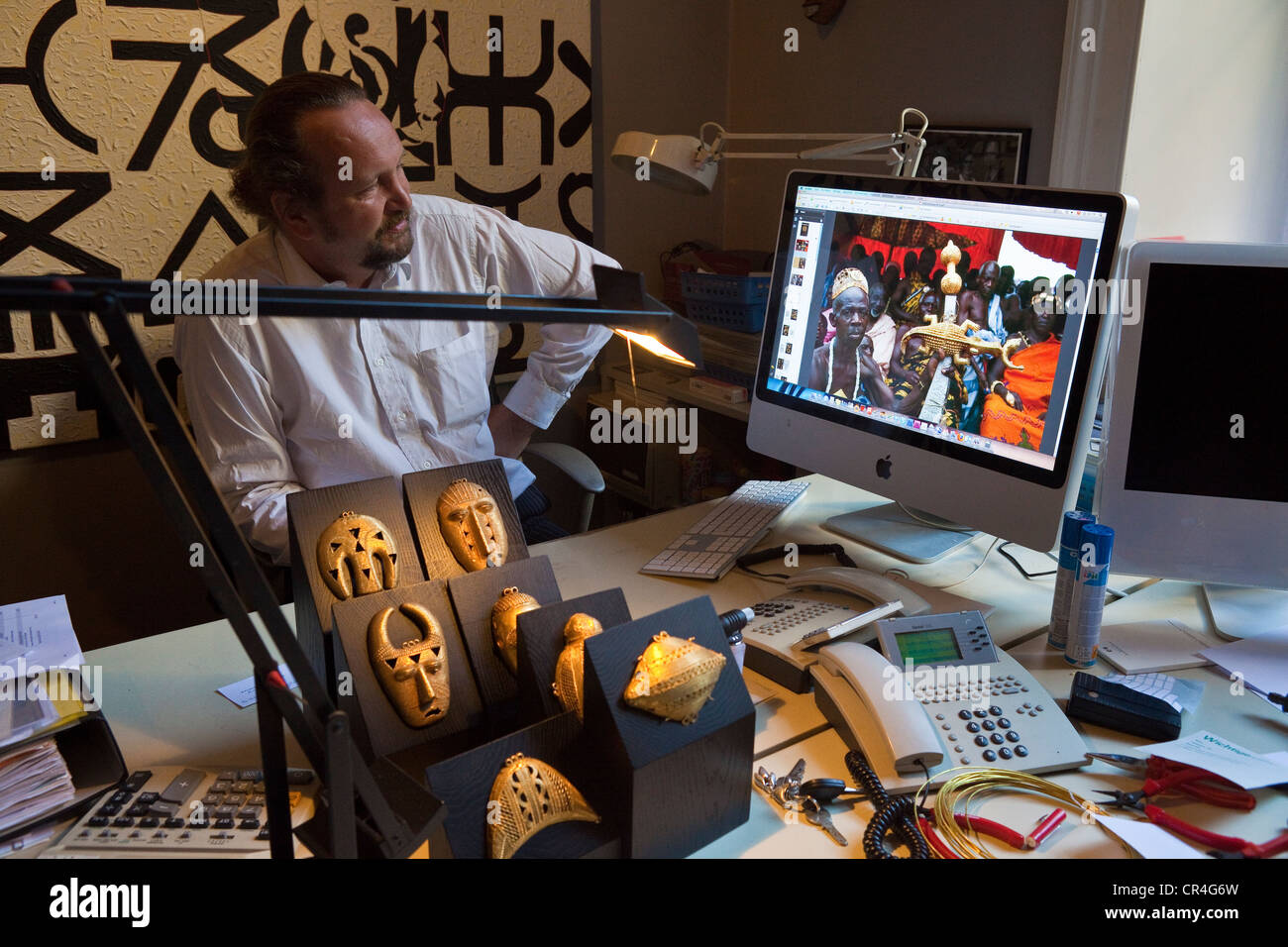 Switzerland, Zurich, African tribal art galery Walu, Jean L.David and wife managers, office - Stock Image
