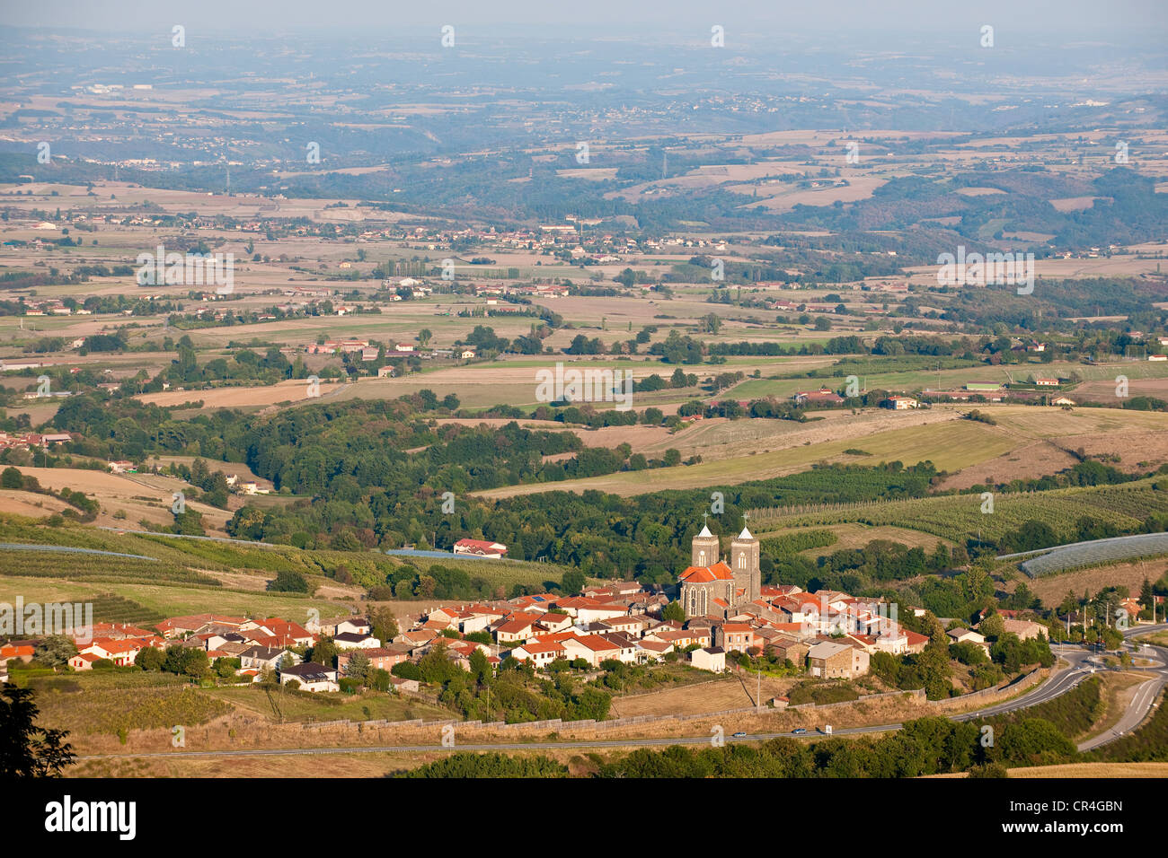 France, Rhone, Les Monts du Lyonnais, viewpoint from the village of Riverie - Stock Image