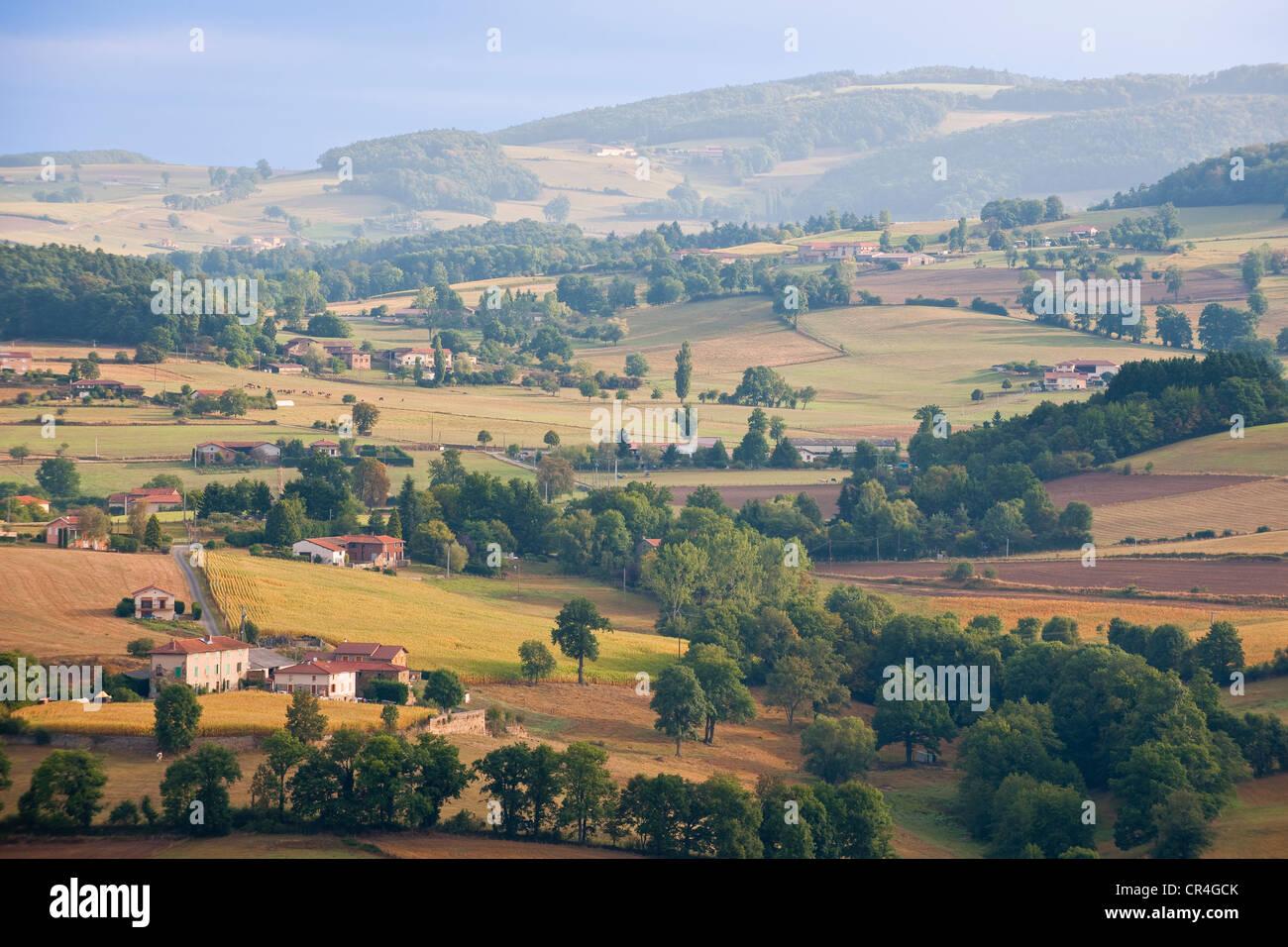France, Rhone, Les Monts du Lyonnais, viewpoint from the Chapelle de la Peur or Chapelle de la Salette - Stock Image
