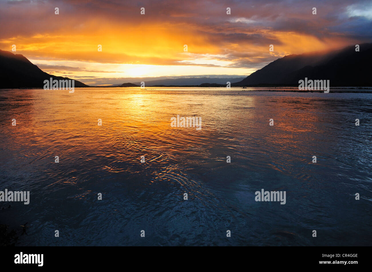 Sunset over Knik River, Chugach Mountains, Alaska, USA, North America - Stock Image