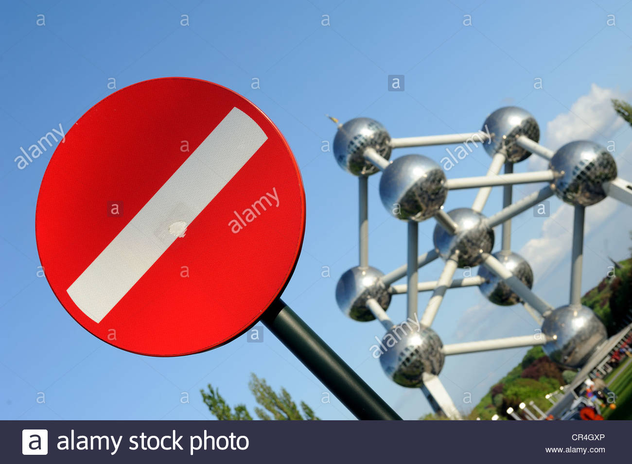 Brussels Belgium No entry sign in front of the Atomium Concept Fortress Europe - Stock Image