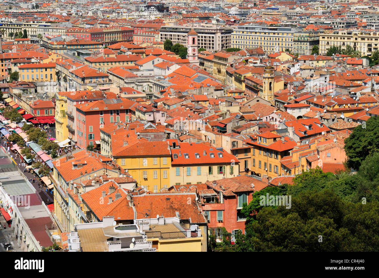 View over Nice, Nizza, Alpes Maritimes, Provence, France, Europe - Stock Image