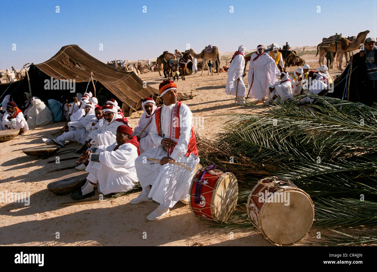 Tunisia, Kebili Governorate, Douz, every year the Desert Festival gathers musicians and dancers for a week of Fantasia - Stock Image