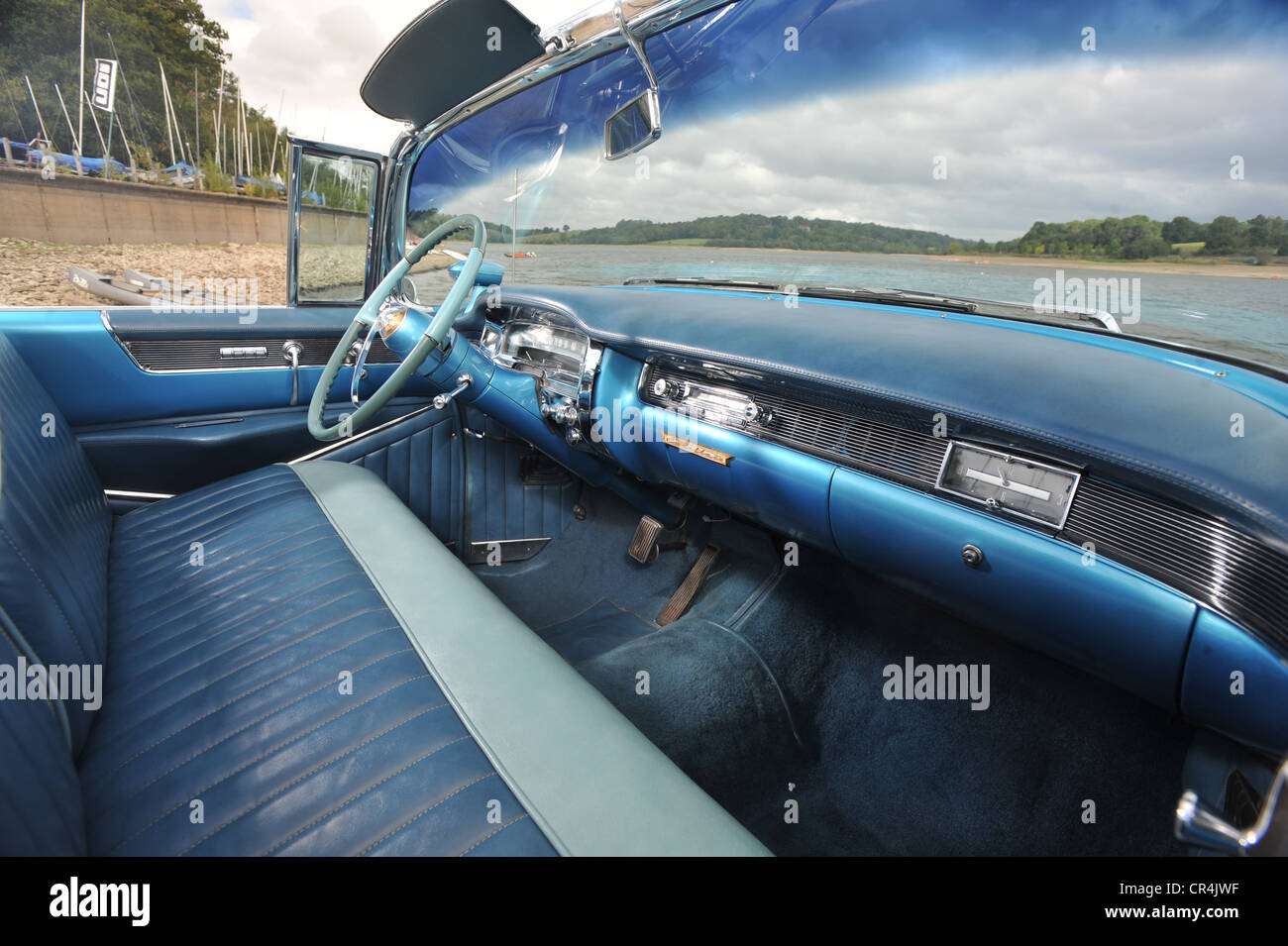 1954 Cadillac convertible classic American car wide interior Stock ...