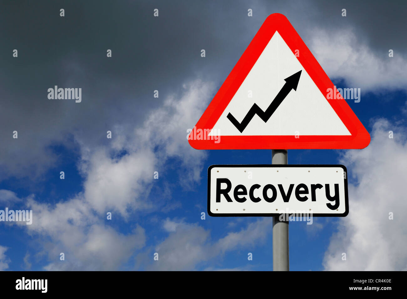 Optimistic roadsign as concept for economic recovery - Stock Image
