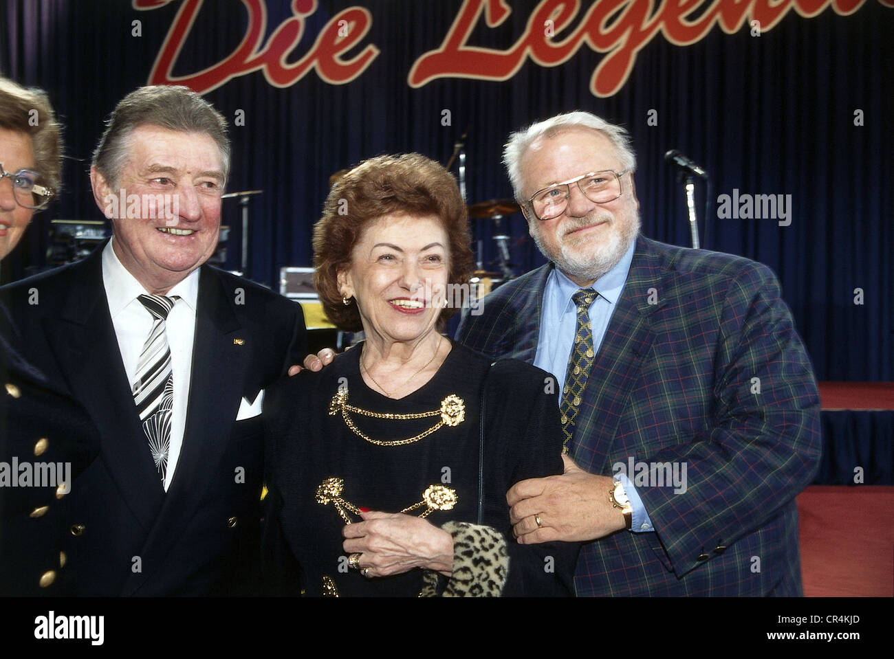 Walter, Fritz, 31.10.1920 - 17.6.2002, German footballer, group picture, with his wife Italia and the actor Guenter - Stock Image
