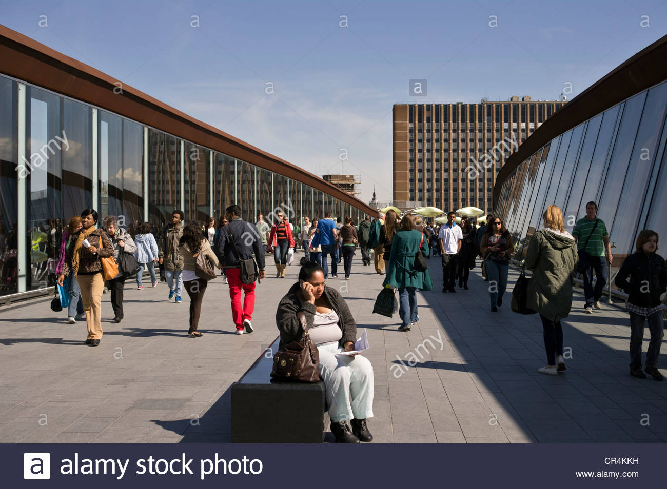 Walkway between Stratford station and the Westfield Shopping Centre, east London Stock Photo