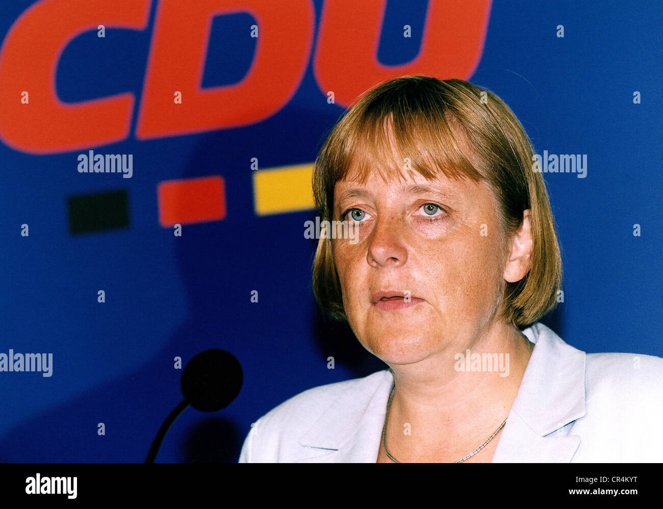 Merkel, Angela Dorothea, * 17.7.1954, German politician (CDU), portrait, as federal chairwoman of the CDU, giving - Stock Image