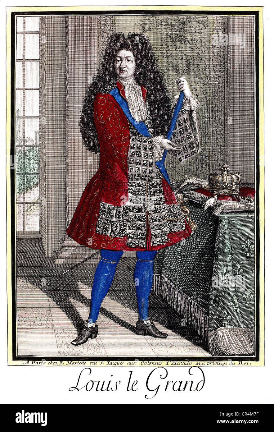 Louis XIV, 5.9.1638 - 1.9.1715, King of France 1643 - 1715, full length, coloured copper engraving by Mariette, Stock Photo
