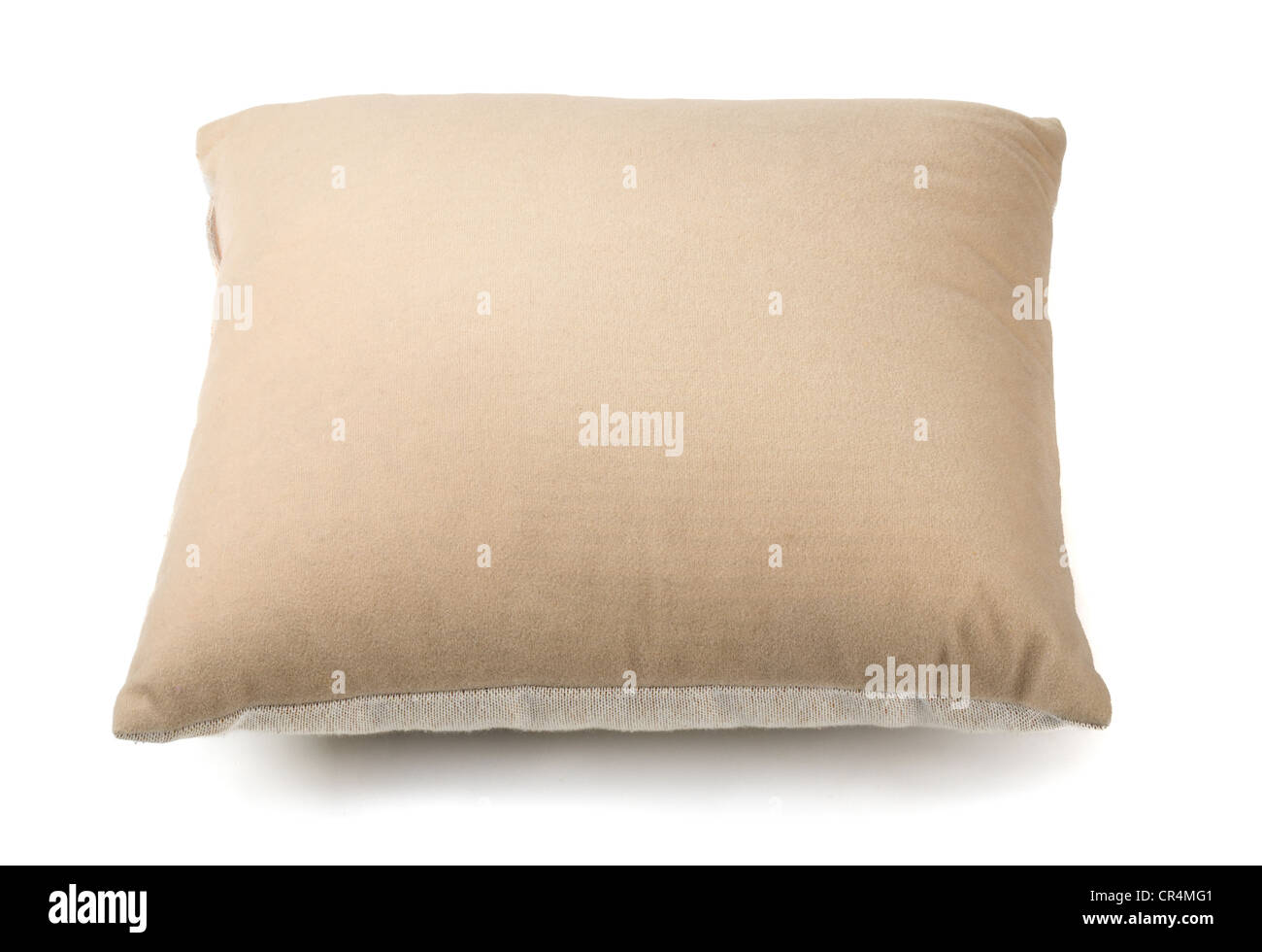Beige pillow isolated on white - Stock Image