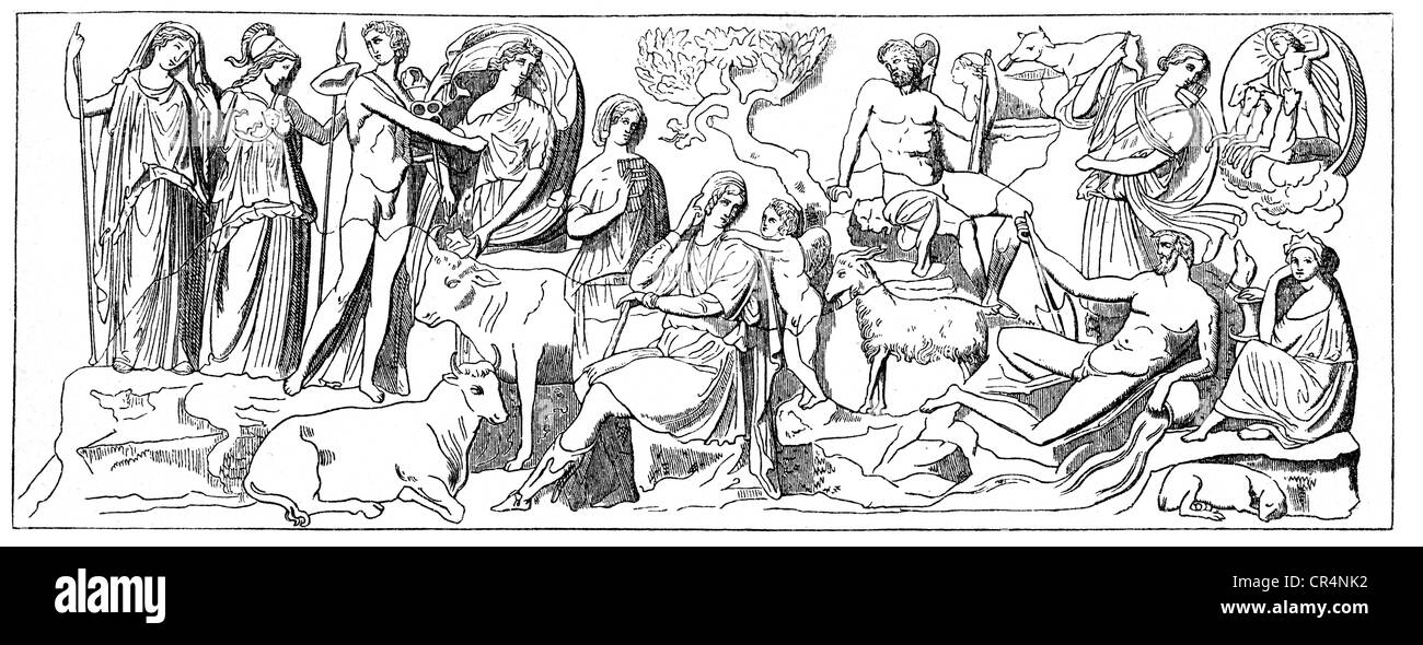 Paris, son of Priam of Troy, Greek legendary figure, depiction 'Judgement of Paris', set out by mother Hecuba - Stock Image