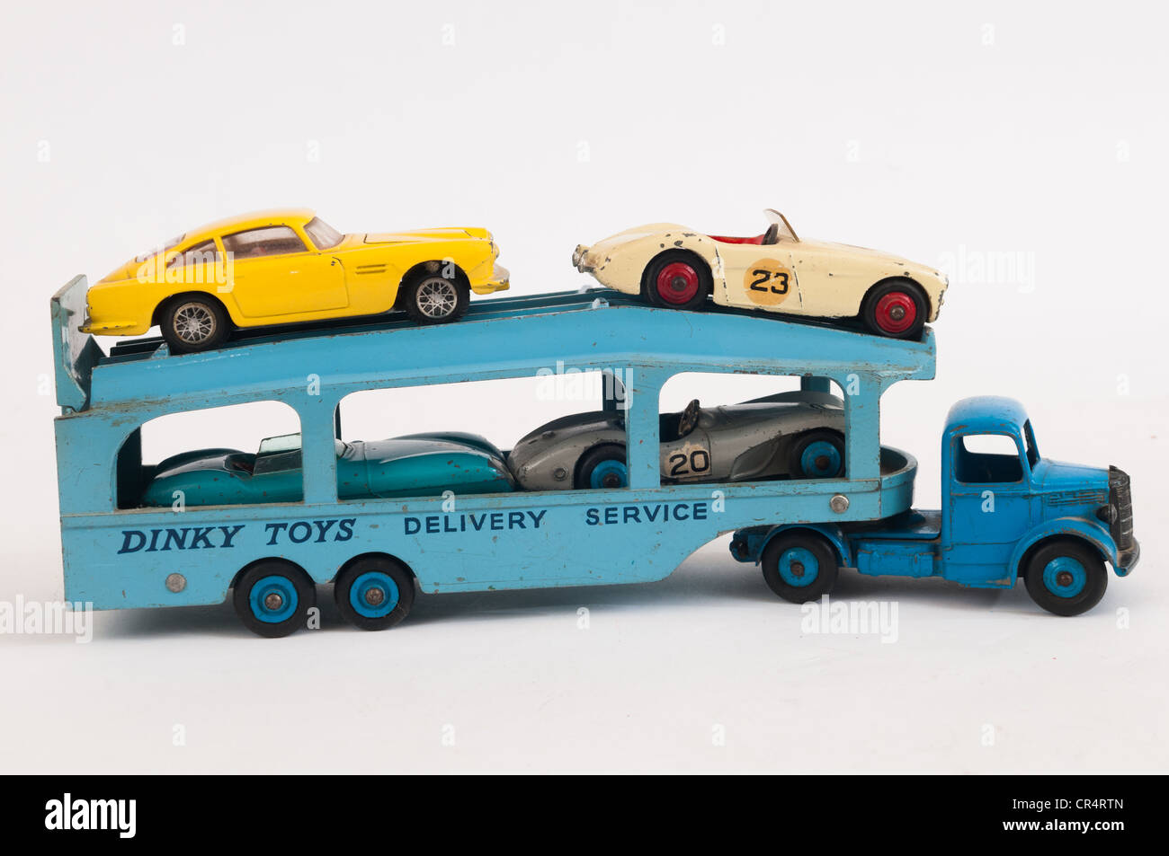 Dinky Toys Bedford Delivery Service Transporter loaded with sports cars - Stock Image