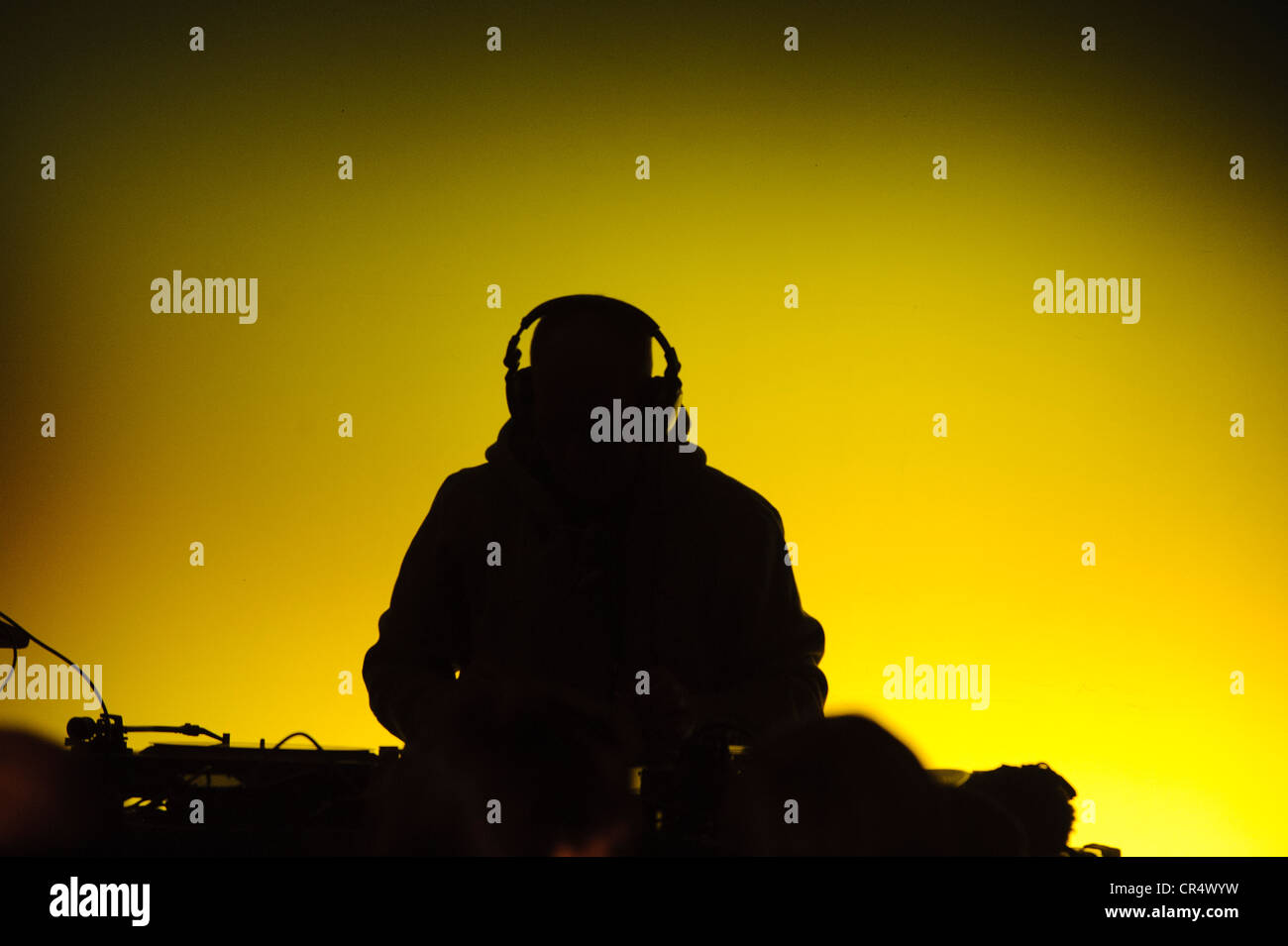 DJ on a sound mixer console, Wasserburg leuchtet lights show, Wasserburg am Inn, Upper Bavaria, Bavaria, Germany, - Stock Image