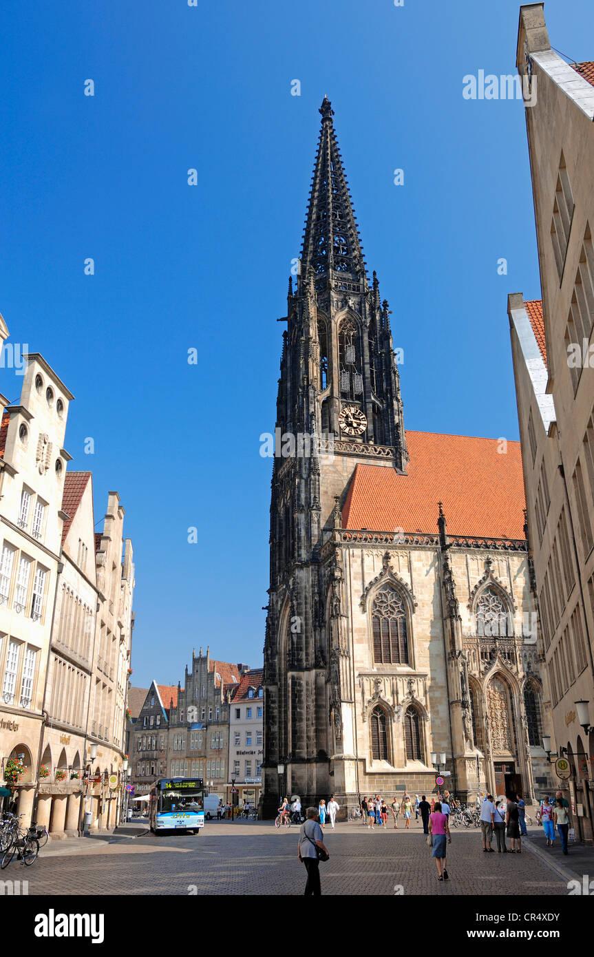 St. Lamberti Church and Prinzipalmarkt square, Muenster, Muensterland, North Rhine-Westphalia, Germany, Europe, Stock Photo