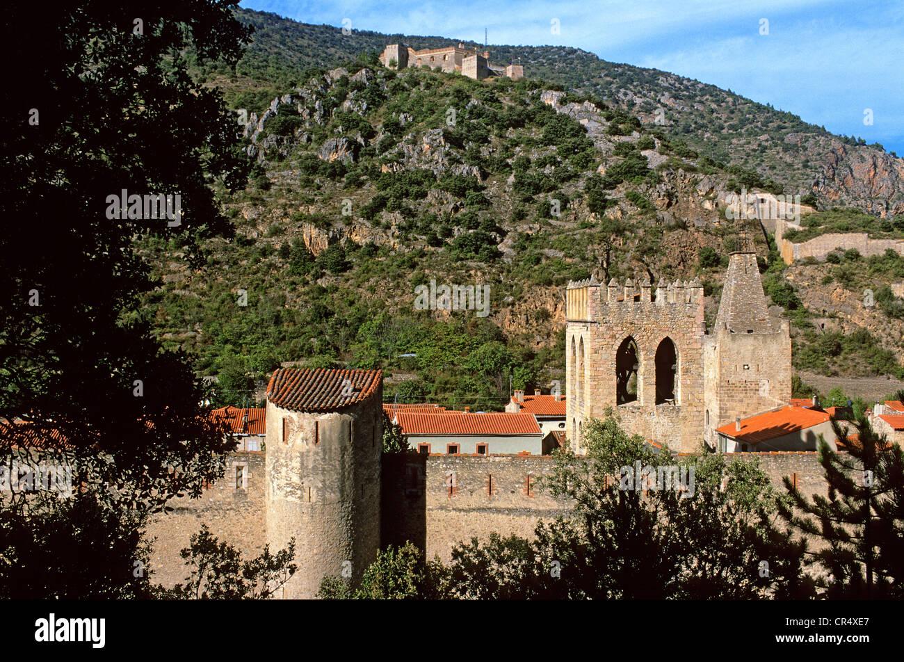 France, Pyrenees Orientales, Villefranche de Conflent, labelled Les Plus Beaux Villages de France, Medieval town - Stock Image