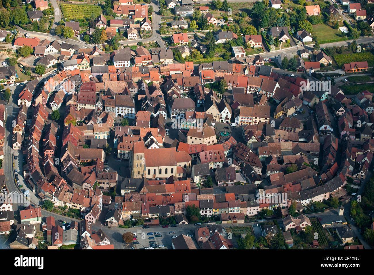 France, Haut Rhin, Alsace Wine Route, Eguisheim village, labelled Les Plus Beaux Villages de France, birth village Stock Photo