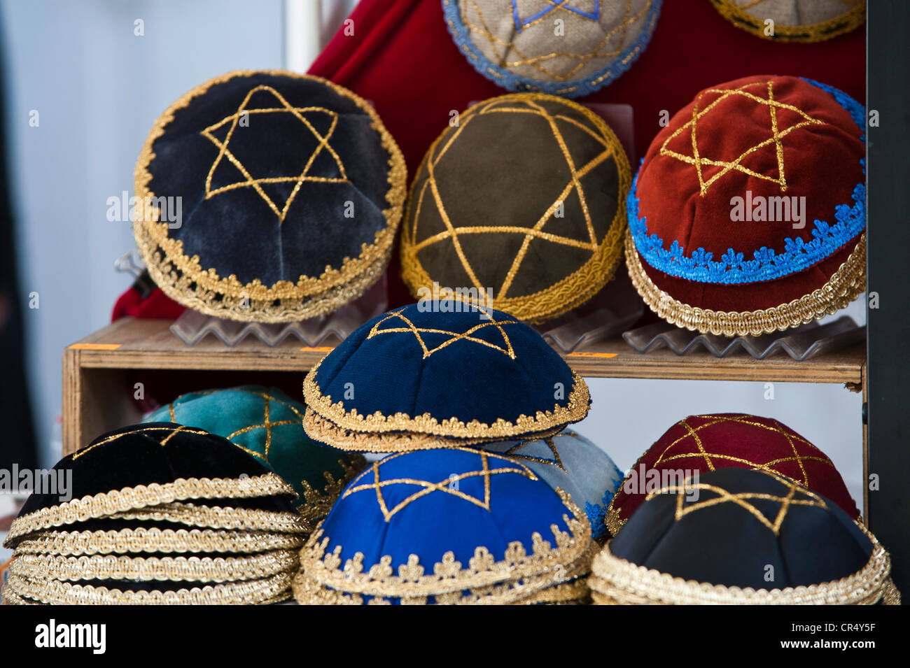 Kipas for sale at a stall, Kazimierz Jewish Quarter, Krakow, Malopolska, Poland, Europe, PublicGround - Stock Image
