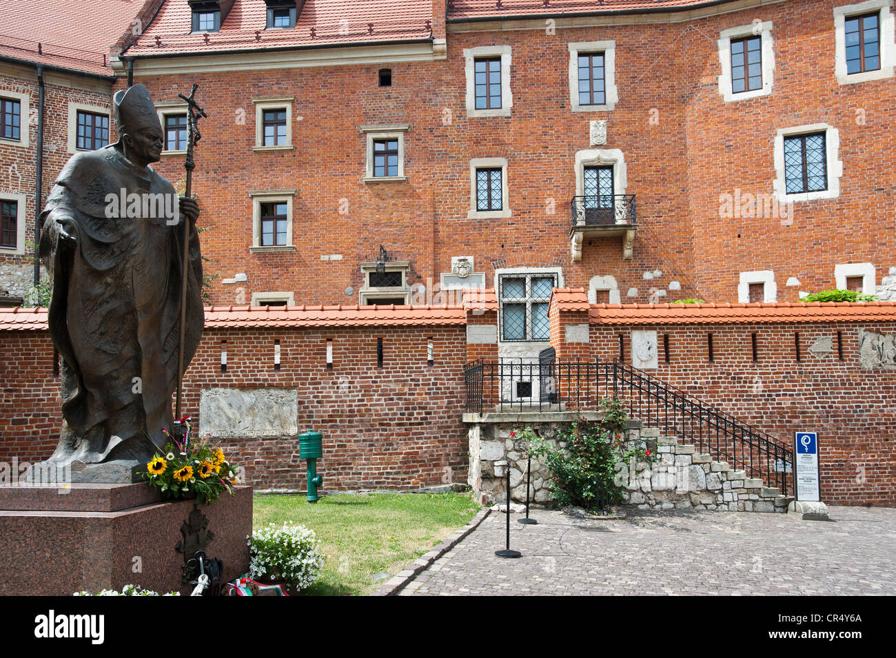 Memorial of Pope John Paul II. in front of Cathedral museum, Wawel, UNESCO World Heritage Site, Krakow, Malopolska, Stock Photo