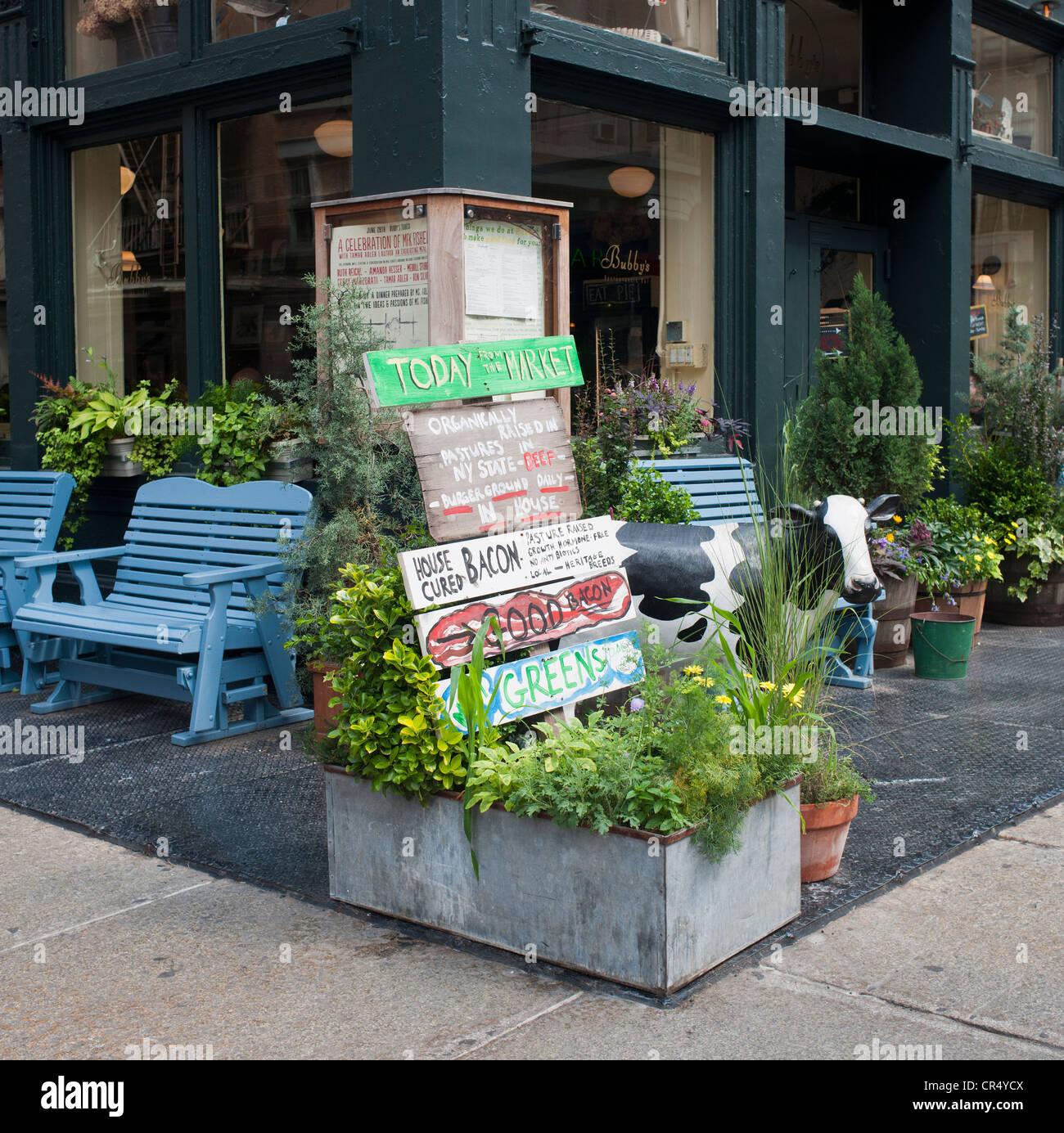 Restaurant and bar in the Tribeca neighborhood of New York Stock Photo