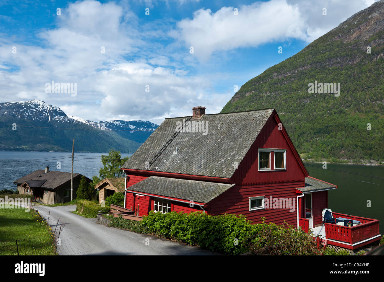 Typical red wooden house on the Hardanger Fjord, Norway, Scandinavia, Northern Europe, PublicGround - Stock Image